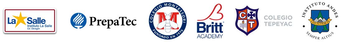 La Salle, Prepa Tec, Colegio Montessori, Britt Academy, Colegio Tepeyac, Instituto Andes